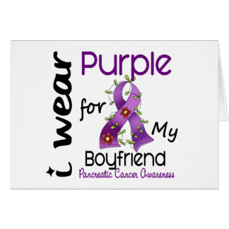 Pancreatic Cancer I Wear Purple For My Boyfriend Card