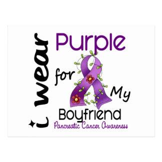 Pancreatic Cancer I Wear Purple For My Boyfriend Postcard