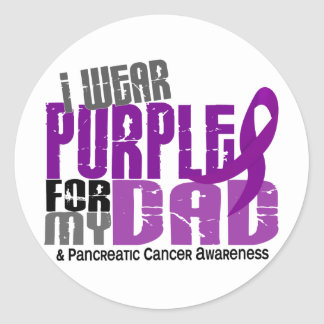 Pancreatic Cancer I Wear Purple For My Dad 6.2 Classic Round Sticker