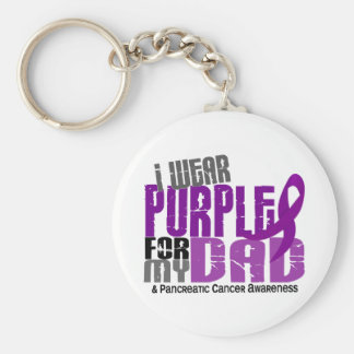 Pancreatic Cancer I Wear Purple For My Dad 6.2 Keychain