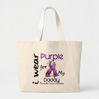 Pancreatic Cancer I Wear Purple For My Daddy 43 Large Tote Bag