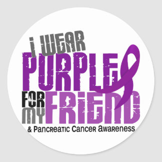 Pancreatic Cancer I Wear Purple For My Friend 6.2 Classic Round Sticker