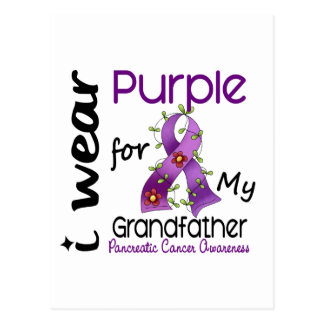 Pancreatic Cancer I Wear Purple For My Grandfather Postcards