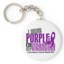 Pancreatic Cancer I Wear Purple For My Grandma 6.2 Keychain