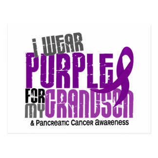 Pancreatic Cancer I Wear Purple For My Grandson 6 Postcard