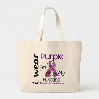 Pancreatic Cancer I Wear Purple For My Husband 43 Large Tote Bag