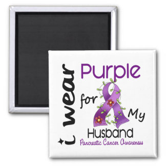 Pancreatic Cancer I Wear Purple For My Husband 43 Refrigerator Magnets