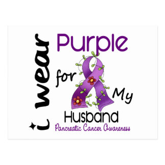 Pancreatic Cancer I Wear Purple For My Husband 43 Postcard