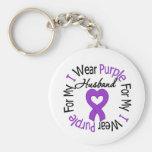 Pancreatic Cancer I Wear Purple For My Husband Keychains