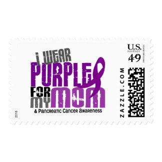 Pancreatic Cancer I Wear Purple For My Mom 6.2 Postage Stamp