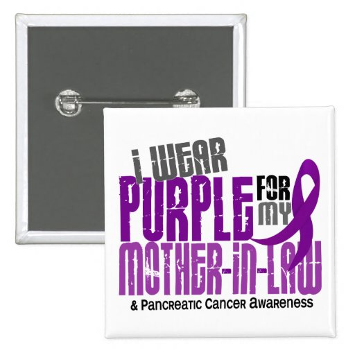 Pancreatic Cancer I Wear Purple For My Mother-In-L 2 Inch Square Button