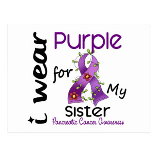 Pancreatic Cancer I Wear Purple For My Sister 43 Postcard