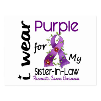 Pancreatic Cancer I Wear Purple For My Sister-In-L Post Cards