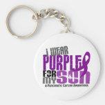 Pancreatic Cancer I Wear Purple For My Son 6.2 Keychain