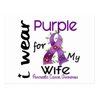 Pancreatic Cancer I Wear Purple For My Wife 43 Postcards