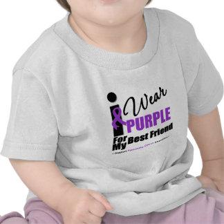 Pancreatic Cancer I Wear Purple Ribbon Best Friend T-shirts