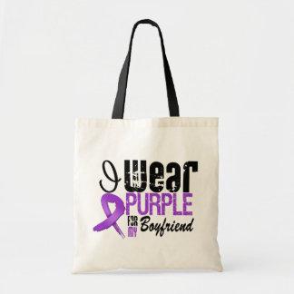 Pancreatic Cancer I Wear Purple Ribbon BOYFRIEND Budget Tote Bag
