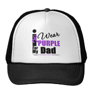 Pancreatic Cancer I Wear Purple Ribbon Dad Trucker Hats