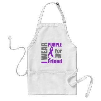 Pancreatic Cancer I Wear Purple Ribbon Friend Adult Apron