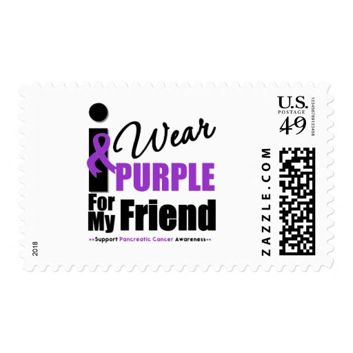 Pancreatic Cancer I Wear Purple Ribbon Friend Stamp
