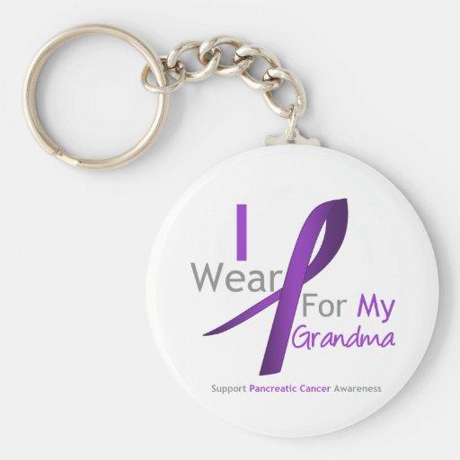 Pancreatic Cancer I Wear Purple Ribbon Grandma Keychain
