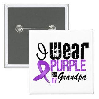 Pancreatic Cancer I Wear Purple Ribbon GRANDPA Pinback Button