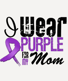 Pancreatic Cancer I Wear Purple Ribbon MOM Tshirts