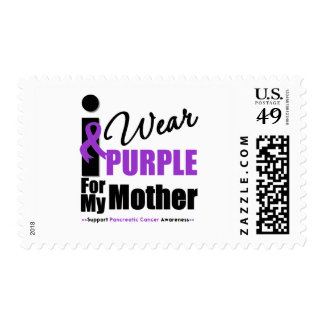 Pancreatic Cancer I Wear Purple Ribbon Mother Postage