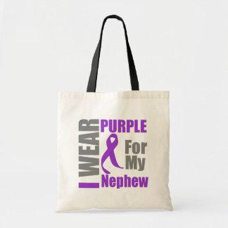 Pancreatic Cancer I Wear Purple Ribbon Nephew Budget Tote Bag