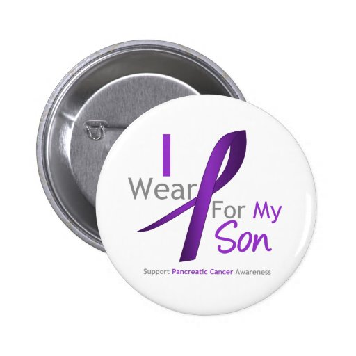 Pancreatic Cancer I Wear Purple Ribbon Son 2 Inch Round Button