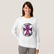 Pancreatic Cancer Iron Cross Ladies Long Sleeve T-Shirt