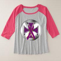 Pancreatic Cancer Iron Cross Ladies Raglan Tee