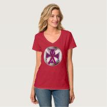 Pancreatic Cancer Iron Cross Ladies V-neck Nano T T-Shirt