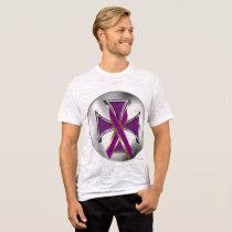 Pancreatic Cancer Iron Cross Men's Burnout T T-Shirt