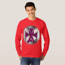 Pancreatic Cancer Iron Cross Men's Long Sleeve T-Shirt