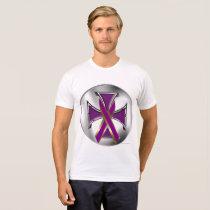 Pancreatic Cancer Iron Cross Men's Poly-Cotton T T-Shirt