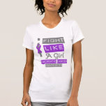 Pancreatic Cancer Label Logo I Fight Like A Girl Tshirt