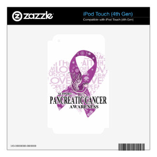 Pancreatic Cancer Love Hope Bird iPod Touch 4G Decals