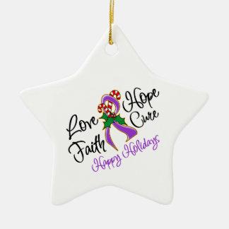 Pancreatic Cancer Love Hope Holidays Ornaments