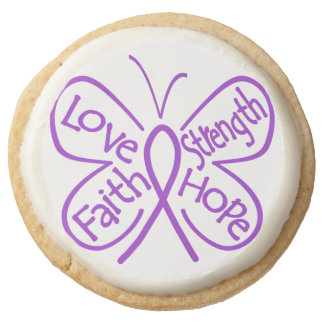 Pancreatic Cancer Love Strength Faith and Hope Round Premium Shortbread Cookie