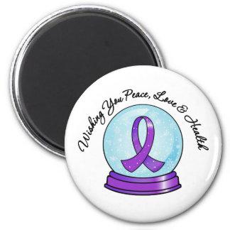 Pancreatic Cancer Merry Christmas Ribbon Snowglobe Fridge Magnets