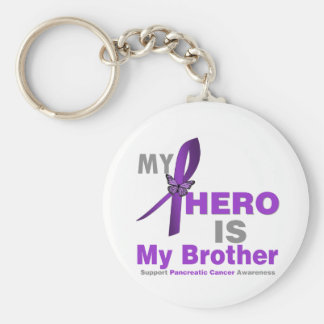Pancreatic Cancer My Hero is My Brother Basic Round Button Keychain