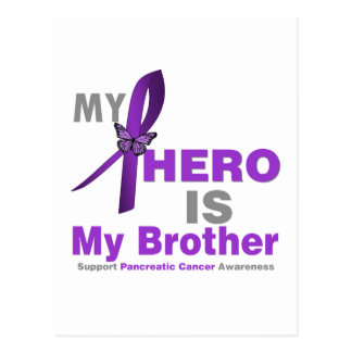 Pancreatic Cancer My Hero is My Brother Postcard
