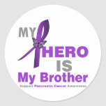 Pancreatic Cancer My Hero is My Brother Round Sticker