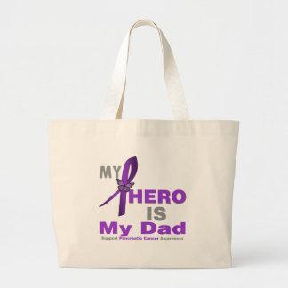 Pancreatic Cancer My Hero is My Dad Large Tote Bag