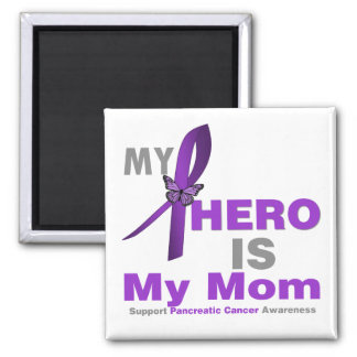 Pancreatic Cancer My Hero is My Mom 2 Inch Square Magnet