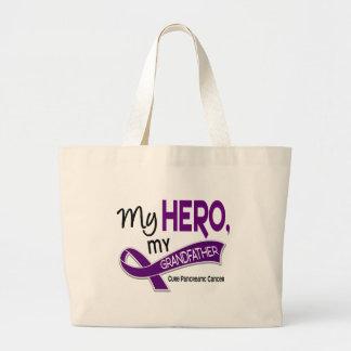Pancreatic Cancer MY HERO MY GRANDFATHER 42 Large Tote Bag