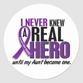 Pancreatic Cancer NEVER KNEW A HERO 2 Aunt Classic Round Sticker