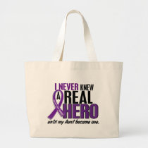Pancreatic Cancer NEVER KNEW A HERO 2 Aunt Large Tote Bag