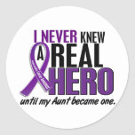 Pancreatic Cancer NEVER KNEW A HERO 2 Aunt Stickers
